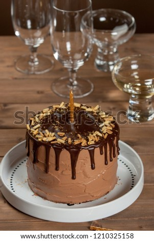 Homebaked Birthday Chocolate Cake Wine Glass