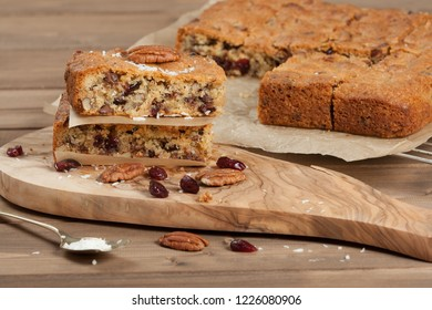 Homebaked Cookie Bars With Chocolate Chips, Cranberry, Coconut, Pecan