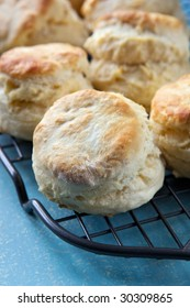 Home-baked scones on a cooling rack, straight from the oven.