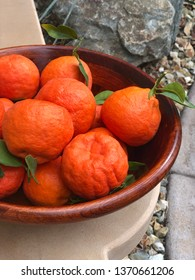 Homegrown Oranges in a Wooden Bowl