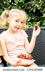 Homegrown strawberry. Caucasian preschooler girl eating homegrown strawberry harvested in garden. Healthy eating. No to obesity. Slow food. Balanced eating.Summer is here