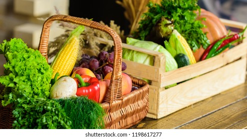 Homegrown vegetables. Fresh organic vegetables in wicker basket and wooden box. Fall harvest concept. Vegetables from garden or farm close up. Autumn harvest organic crops pumpkin corn vegetables.