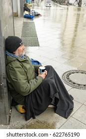 Homeless in Berlin with rain