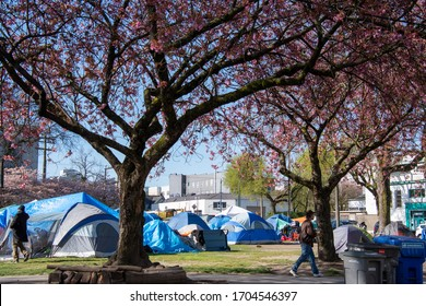 The homeless camp at Oppenheimer park.    April 14th 2020    Vancouver BC Canada