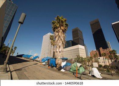 A homeless encampment next to a Downtown Los Angeles freeway.