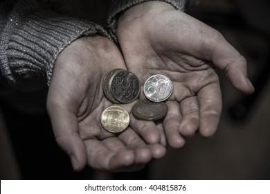Homeless man asks for money
