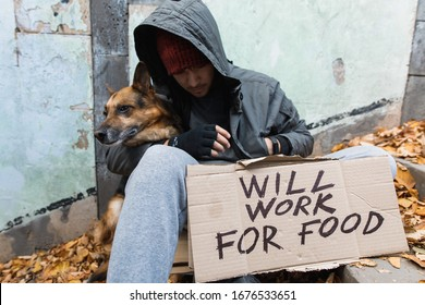 homeless man with a dog and a sign