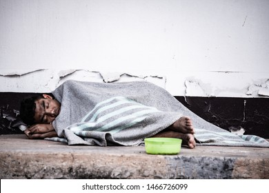 homeless man for help concept for poverty or hunger people, Human Rights,background text.