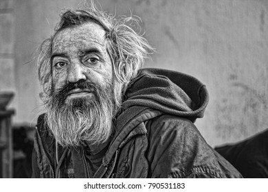 Homeless man portrait