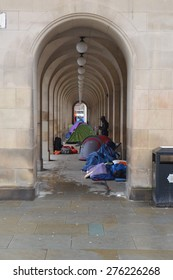 Homeless protests in St Peter's Square in Manchester, UK, May 2015