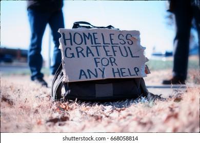 Homeless sign