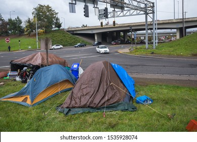 Homeless village on city intersection. Portland, Oregon
