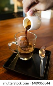Homemade Affogato with Chocolate Ice Cream and Coffee