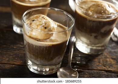 Homemade Affogato with Ice Cream and Coffee