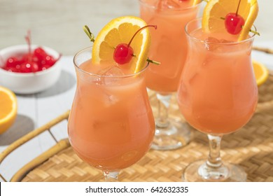 Homemade Alcoholic Hurricane Cocktail Drink with Rum and Orange Juice