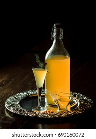 Home-made alcoholic tincture on sea-buckthorn