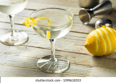 Homemade Alcoholic Vesper Martini with a Lemon Twist