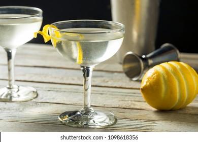 Homemade Alcoholic Vesper Martini with a Lemon Twist