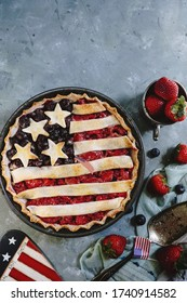 Homemade American Flag Pie / 4th of july Patriotic Food concept