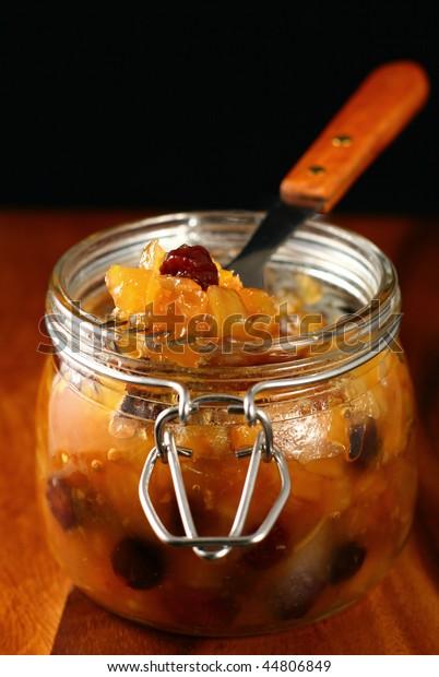 Homemade apple chutney in jar