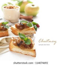 Homemade Apple chutney with mint