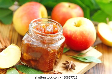 Homemade apple jam with cinnamon and spices
