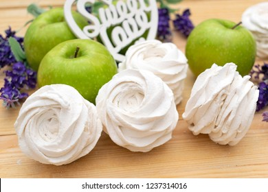 Homemade Apple marshmallow with green apples on wooden background, Homemade Apple marshmallow with green apples on wooden background, white Apple marshmallow