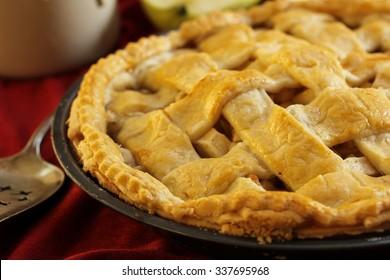 Homemade Apple pie close up, selective focus