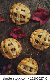 Homemade Apple pie lattice cookies overhead view / Thanksgiving desserts