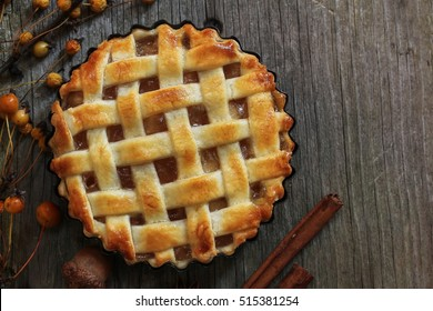 Homemade Apple pie or tart with lattice top overhead view