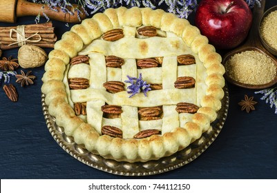 Homemade apple pie topped with roasted pecans placed with fresh apple,cinnamon sticks,nuts,brown sugar and star anise on dark background
