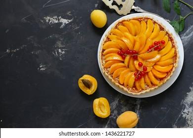 homemade apricot fruit tart dessert