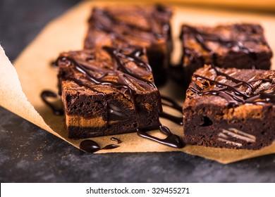 Homemade artisan dark chocolate brownies