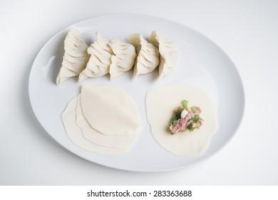 Homemade Asian dumplings on plate