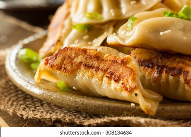 Homemade Asian Pork Potstickers with Soy Sauce