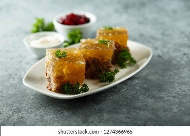 Homemade aspic cooked with beef
