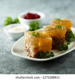 Homemade aspic made with beef