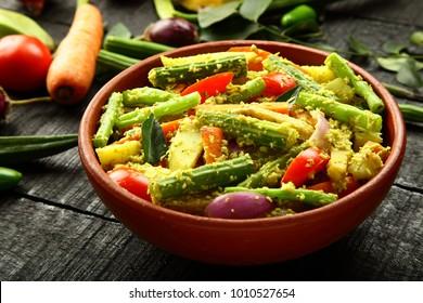 Homemade authentic Kerala recipe aviyal- vegan dish