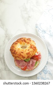 Homemade bacon and bagel sandwich