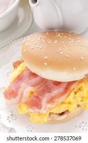 homemade bacon and scrambled egg hamburger