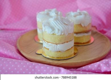 Homemade baked Coconut fresh cream cake