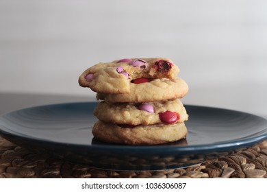 Homemade Baked Cookies with Red, Pink, and White Candy Coated Chocolates