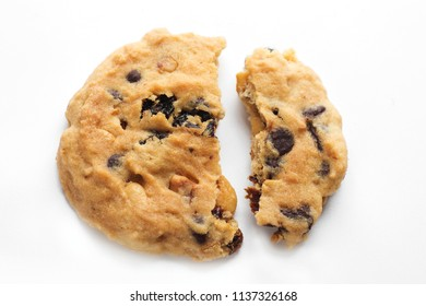 Homemade bakery Cookie broken on white background.