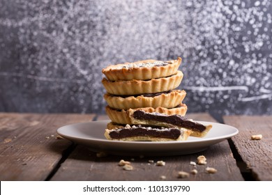 homemade baking - tartlets with salted caramel and chocolate