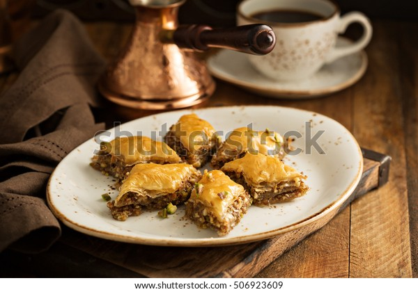 Homemade baklava with nuts and honey syrup