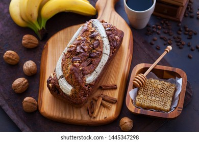 homemade banana bread with walnuts and chocolate - sweet food