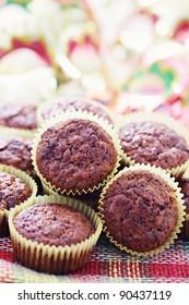 homemade banana and chocolate muffins - sweet food