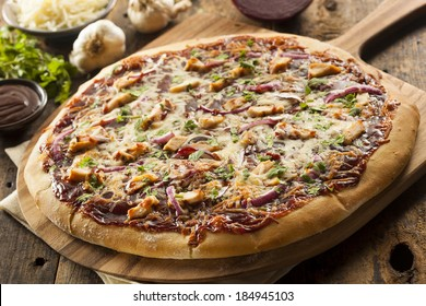 Homemade Barbecue Chicken Pizza with Onions and Cilantro