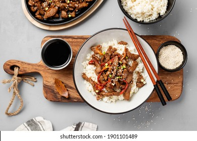 Homemade barbecue korean beef bulgogi with white rice. Top wiev