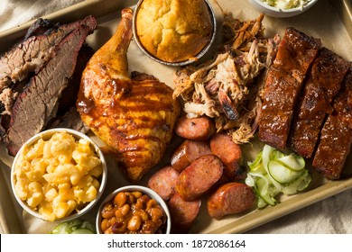 Homemade Barbecue Platter with Ribs Chicken Brisket and Pulled Pork